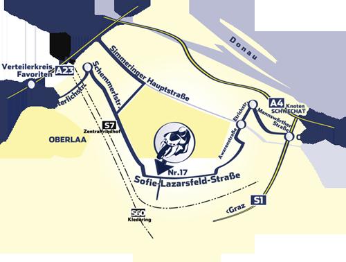 Anfahrtsskizze und link zum Google Routenplaner
